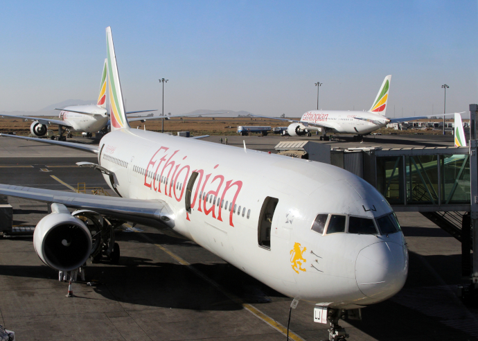 Addis Ababa Airport is the main hub of Ethiopian Airlines.